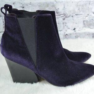 purple velvet avant garde heel chelsea ankle boots